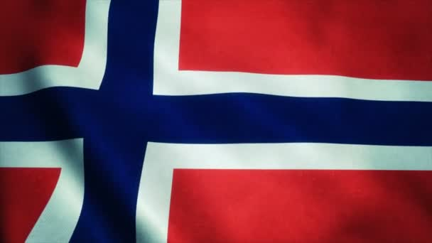 Realistic Ultra-HD flag of the Norway waving in the wind. Seamless loop with highly detailed fabric texture