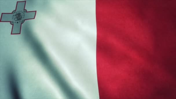 Realistic Ultra-HD flag of the Malta waving in the wind. Seamless loop with highly detailed fabric texture