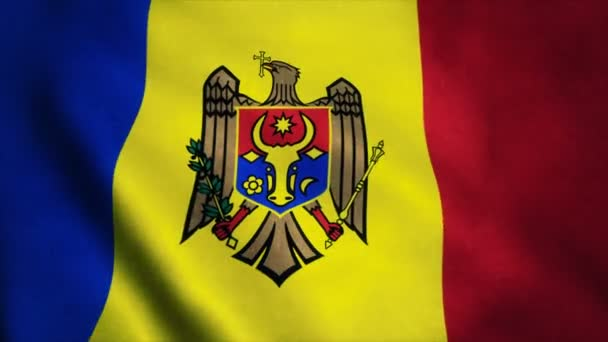 Realistic Ultra-HD flag of the Moldova waving in the wind. Seamless loop with highly detailed fabric texture