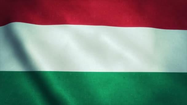 Reális Túlzó-Hd zászlaja a magyar integetett a szél. Varrat nélküli hurok a rendkívül részletes szövet szerkezete