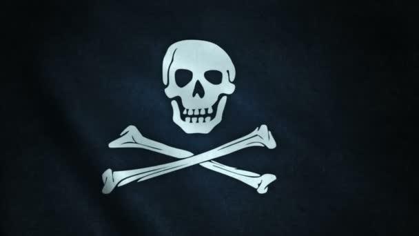 animazione 3D di primo piano della bandierina di pirata