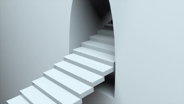 Escalator és fal. Végtelen lépcső 3D-s renderelése. Számítógép generált elvont háttér.