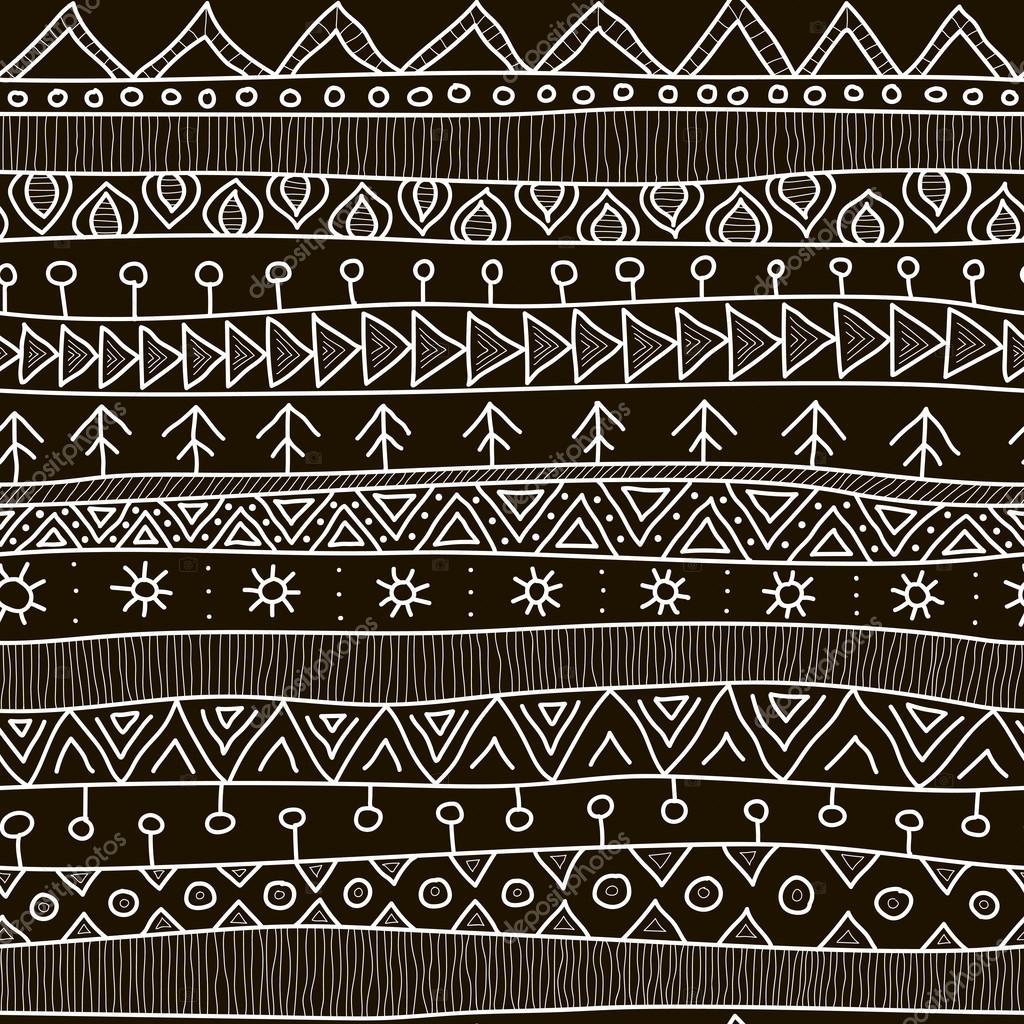 Blanco y negro patrones sin fisuras tribales, estilo mosaico étnico ...
