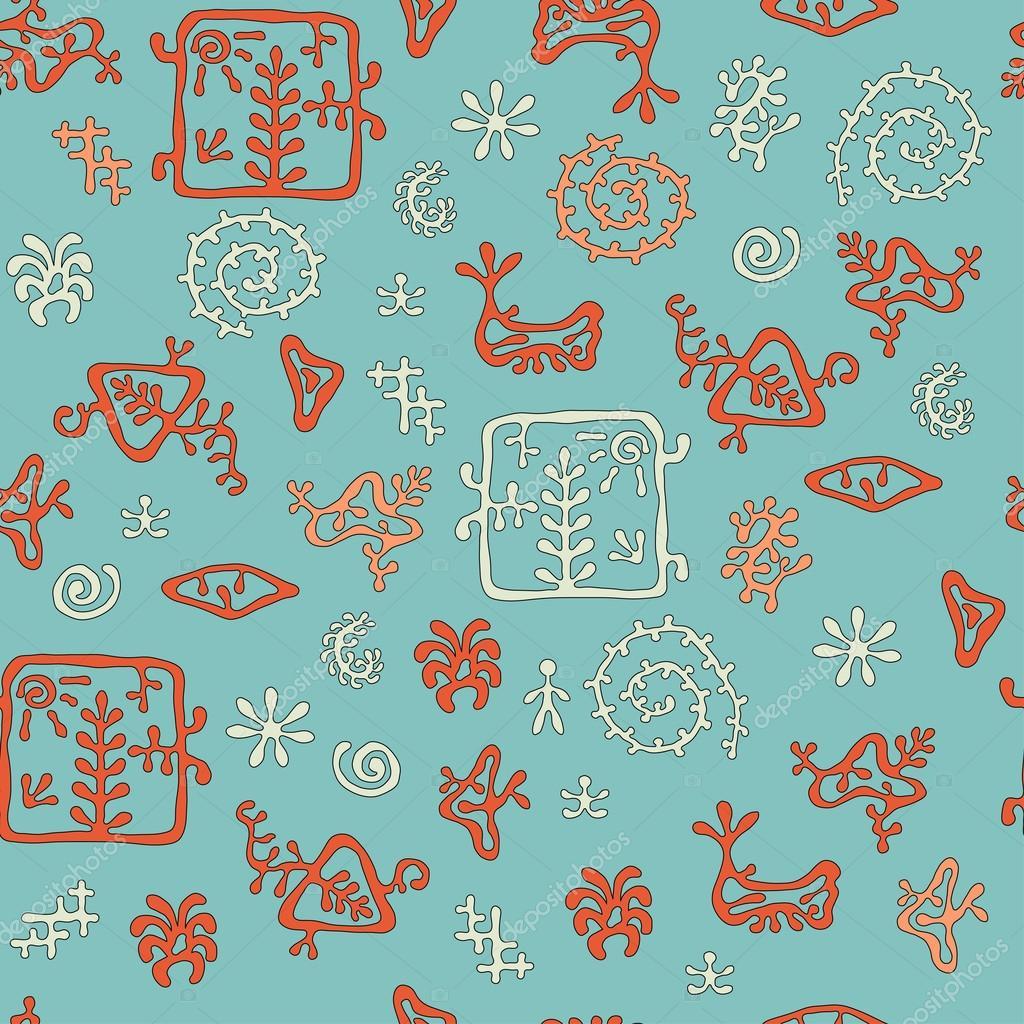 Rock Malerei Stil Muster, Marine Farben, Nahtlose Textur Für Textil,  Hintergrund, Tapeten Und Geschenkpapier U2014 Vektor Von Zharkusha