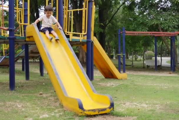 A little boy enjoys playing in a children playground