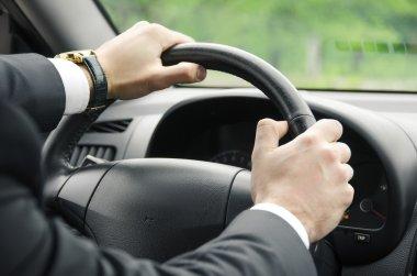 Businessman driving his  car. stock vector