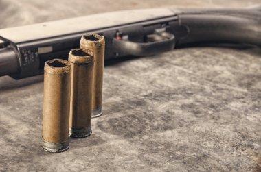 Weapon. Shotgun concept. Black shotgun and shotgun sleeve.