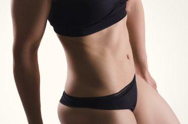 Sexy sport woman body.  Fitness portrait. Underwear.