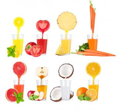 Conceptual image - fresh juice pours from fruits and vegetables in a glass. Photo on a white background stock vector