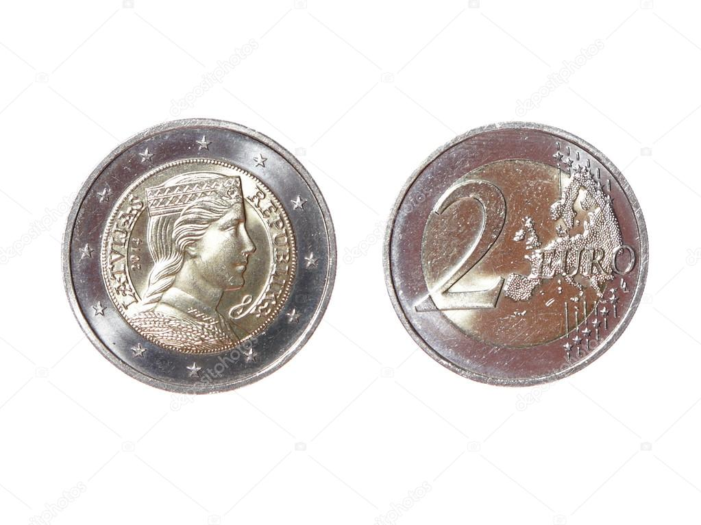Zwei 2 Euro Münze Geld Avers Reverse Neue Republik Lettland