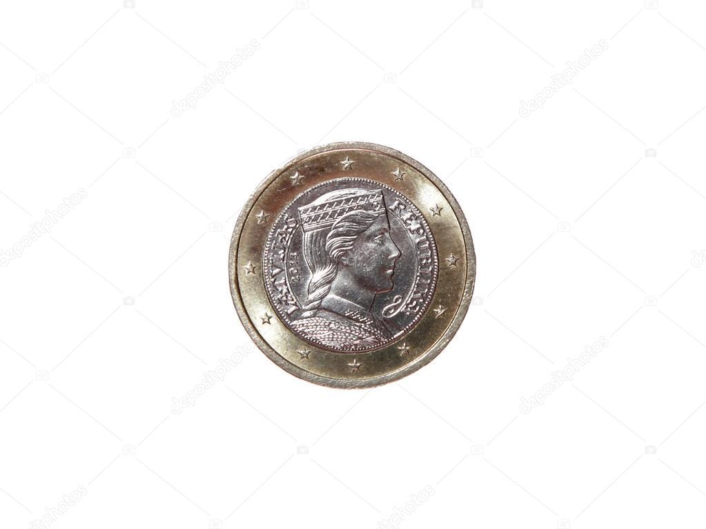 Eine 1 Euro Münze Geld Reverse Republik Lettland Neu Stockfoto