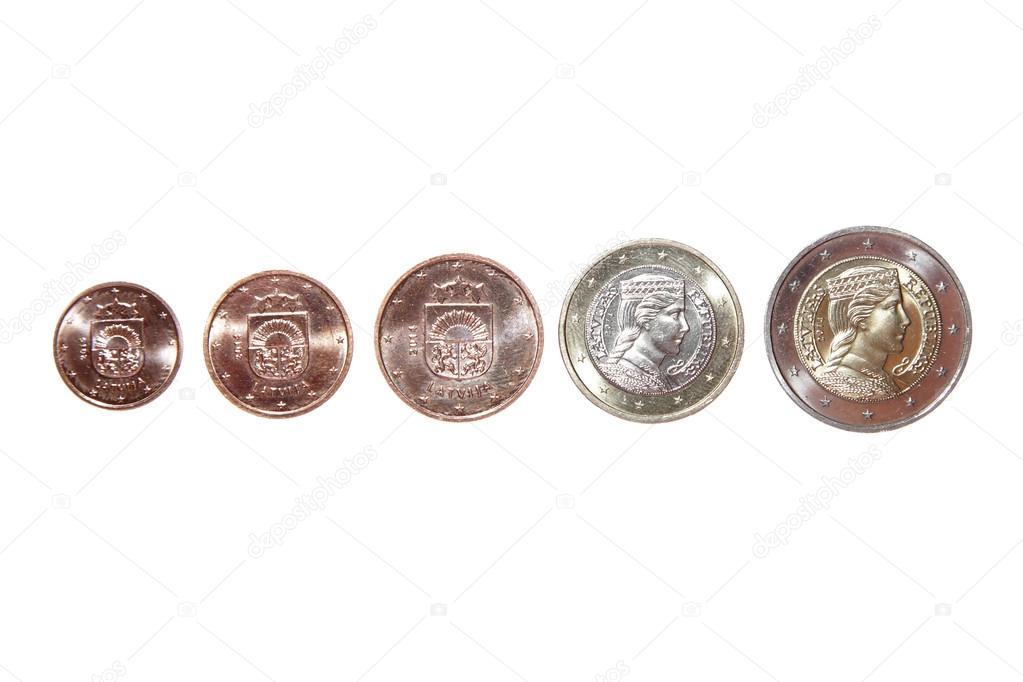 Eine Zwei 1 Euro Cent Münze 2 Geld Reverse Neue Republik Lettland