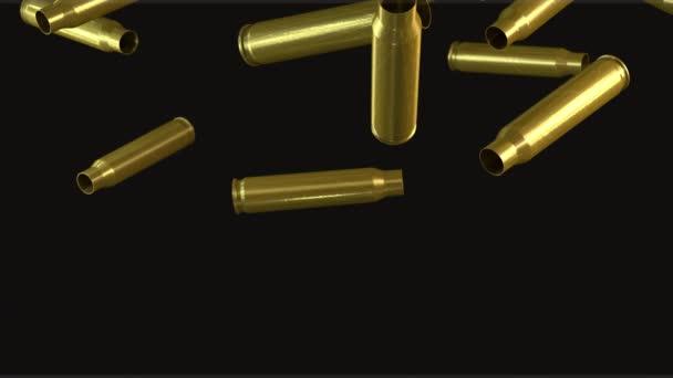 Patronenhülsen eines Maschinengewehrs fallen zu Boden