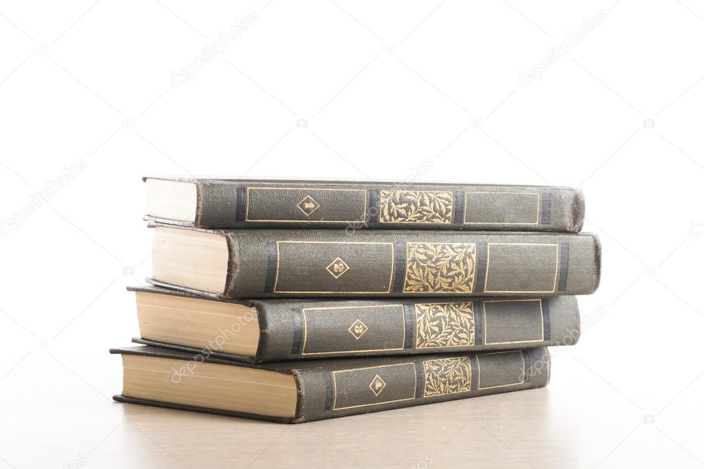 Stack of books on white background. Education concept. Back to school.