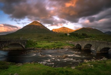 Three bridges in Sligachan on Isle of Skye in sunset light, Scotland stock vector