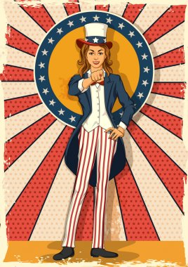 Retro woman posing Uncle Sam I WANT YOU
