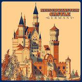 Fotografie Vintage Poster von Schloss Neuschwanstein in Schwangau berühmten Denkmal in Deutschland
