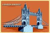 Vintage poster of London Bridge famous monument in United Kingdom
