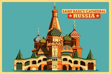 Vintage poster of Saint Basils Cathedral in Moscow famous monument in Russia