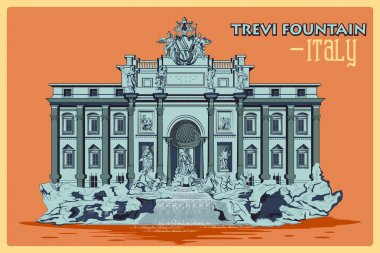 Vintage poster of Trevi Fountain In Rome famous monument in Italy