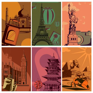 Vintage Travel poster with world famous monument