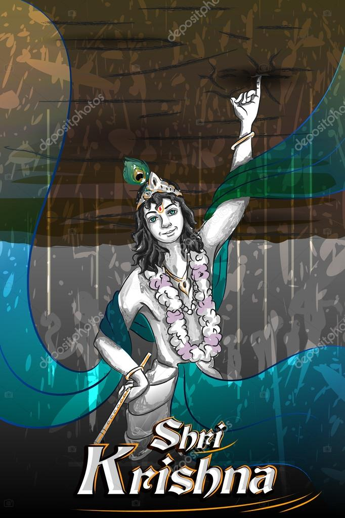 Lord Krishna Indian God Janmashtami festival holiday — Stock Vector