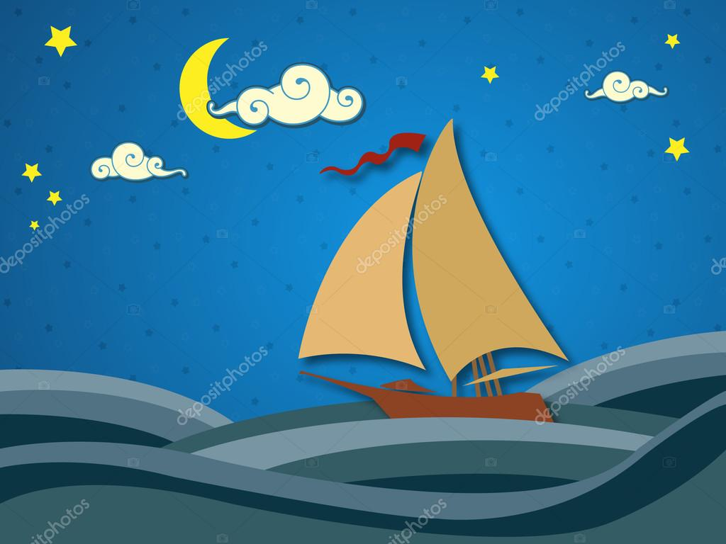 Sailing boat in night