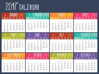 Calendar template for 2017. Calendar grid.