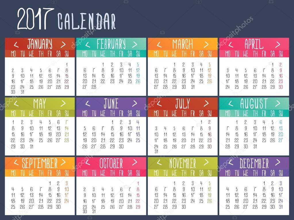 Plantilla de calendario para 2017. Cuadrícula del calendario ...
