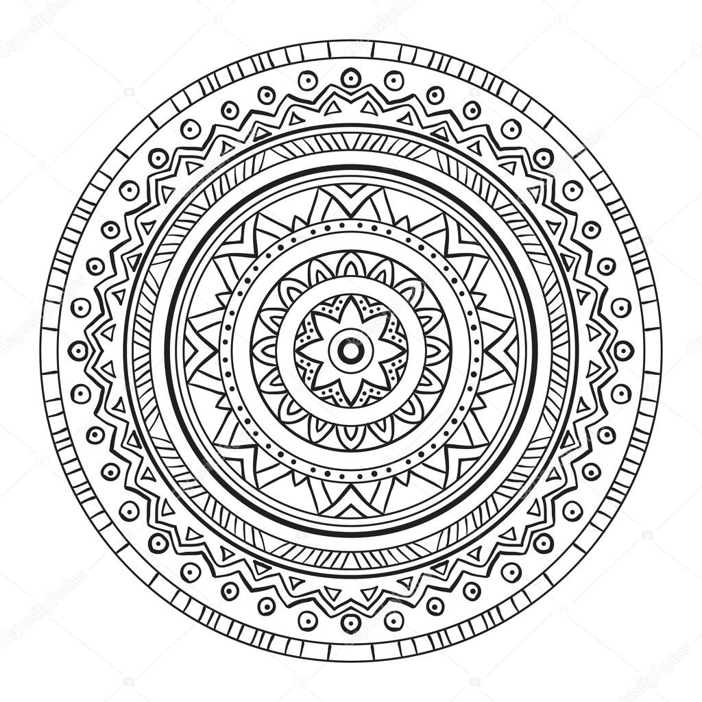 Black and white abstract circular pattern.