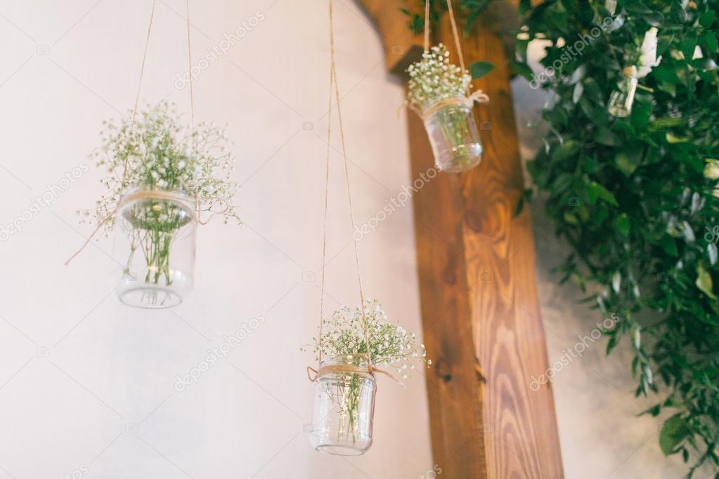 Hochzeit Deko Ideen, Topf Mit Blumen U2014 Stockfoto © Yanush868 #117002948