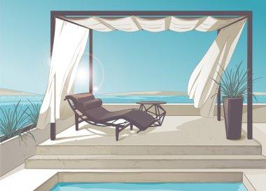 Pergola, pool, white curtains