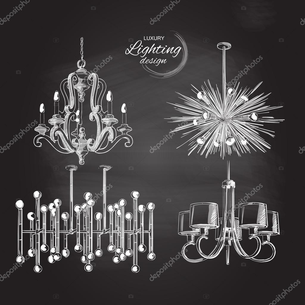 chandelier lamp lighting decor — Stock Vector © Bravoart #124526478