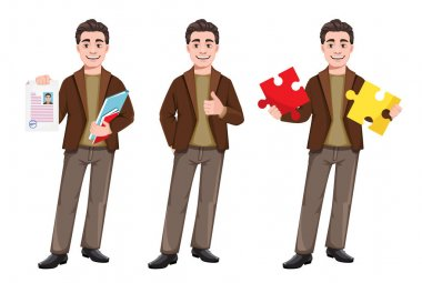 Stock vector businessman cartoon character in flat style, set of three poses. Young handsome business man holding resume, standing straight and holding two pieces of puzzle. Vector illustration icon