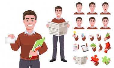 Stock vector successful business man, pack of body parts, emotions and things. Build your personal design. Manager character design. Flat style vector illustration isolated on white icon