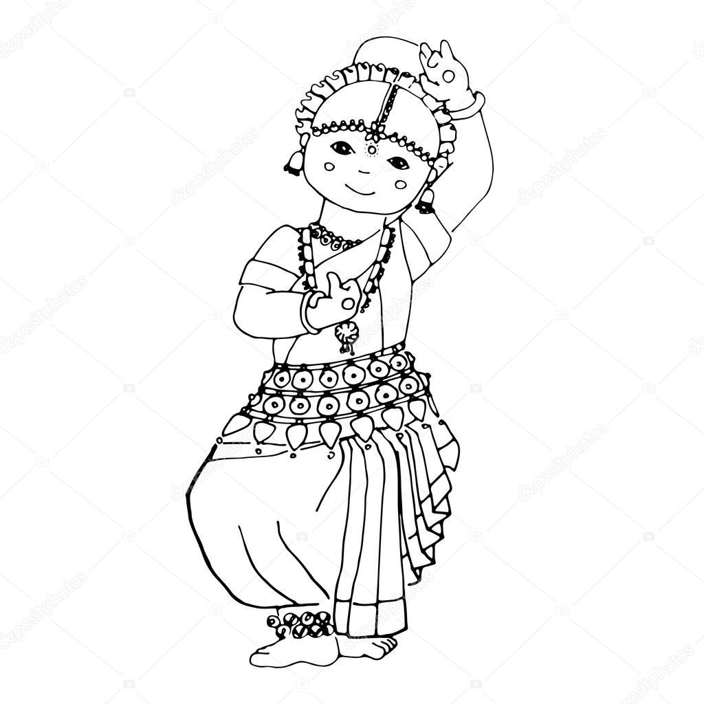 Indian Dancing Girl Drawing Dancing Indian Girl Stock Vector C Anasta See You Yandex Com 115128970
