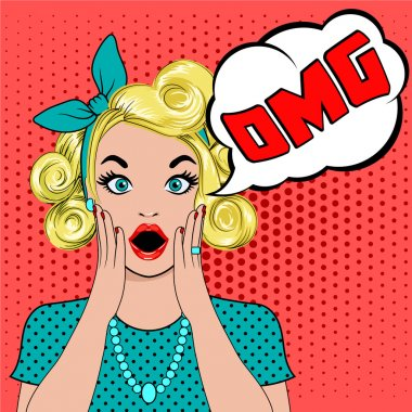 OMG bubble pop art surprised blond woman