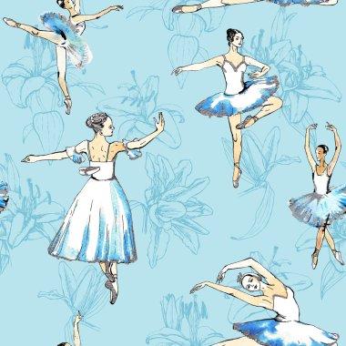 Ballerinas seamless background.
