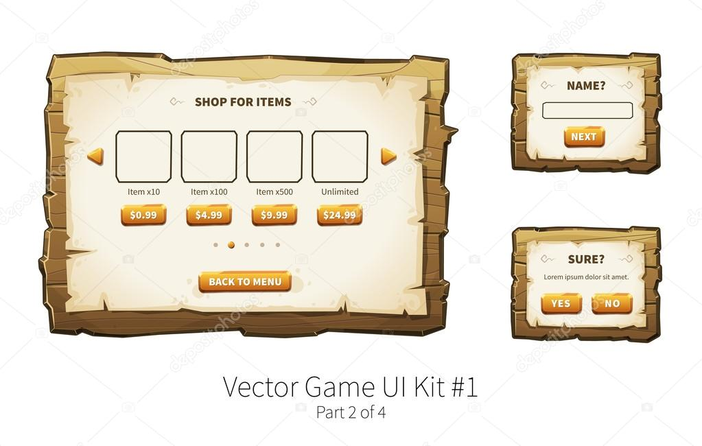 Vector wooden game ui — Stock Vector © foxreeds #110831670