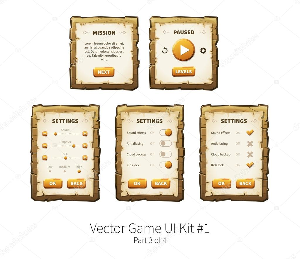 Vector wooden game ui — Stock Vector © foxreeds #110832932