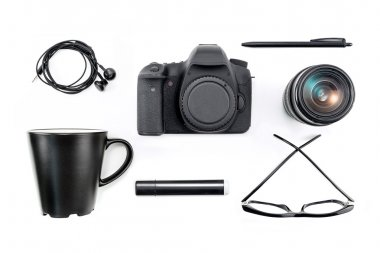 the main tools on the desk of a photographer