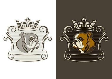 Detailed logo of bulldog head.