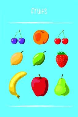 Set de frutas vectoriales
