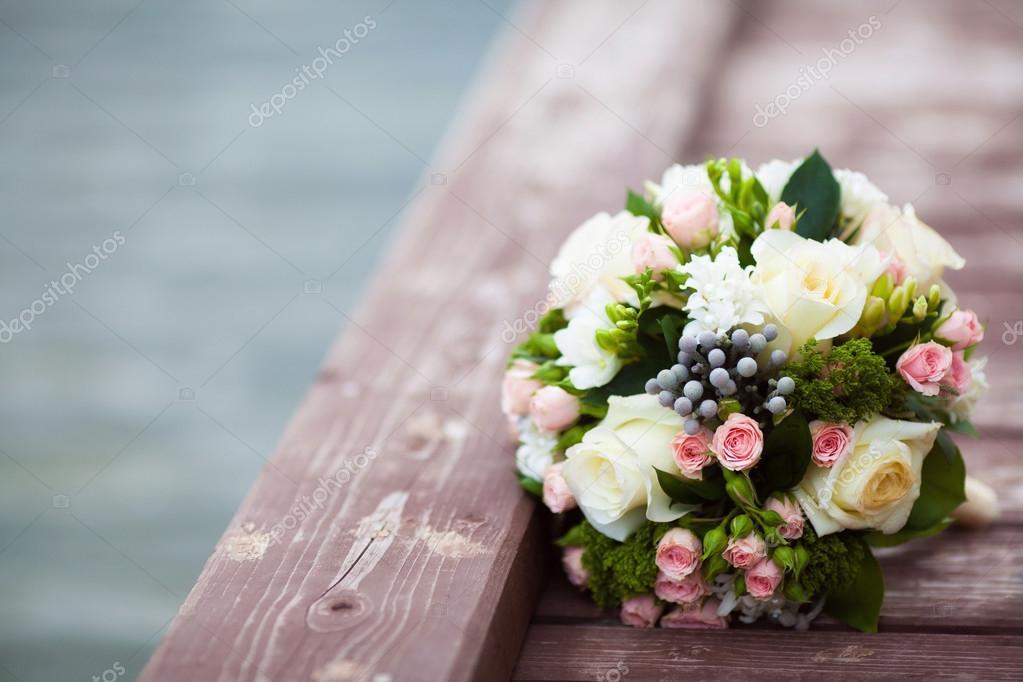 Schone Hochzeit Bouquet Auf Vintage Holz Hintergrund Ehe Konzept