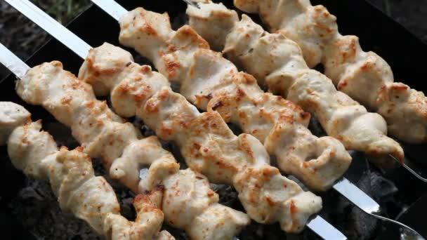 Faszén a parázs a hússal. Csirke shish kebab