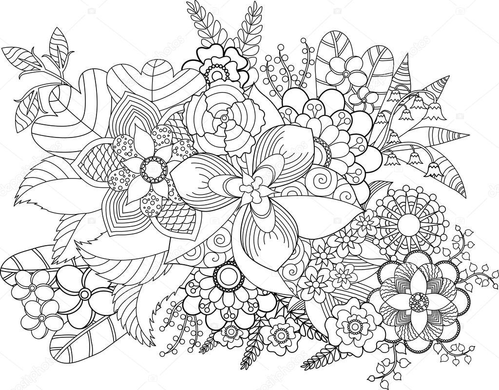 çiçek Boyama Sayfası Stok Vektör Fodorviola73 110198812