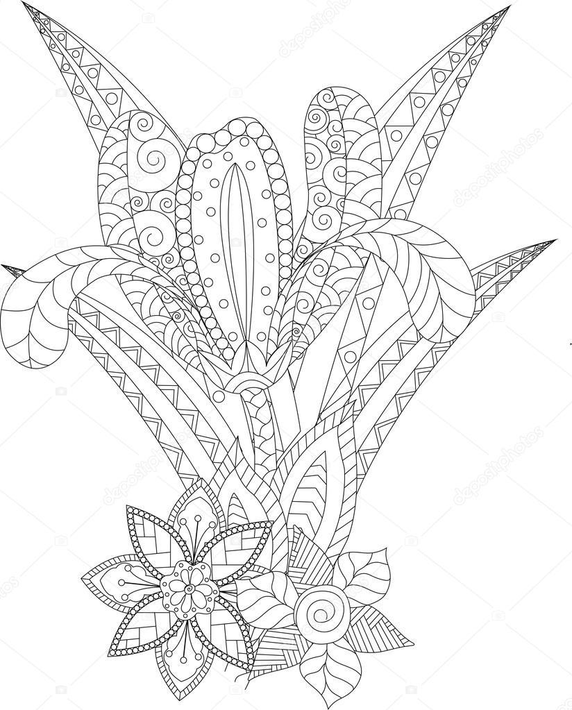 Página para colorear con la flor de iris — Vector de stock ...