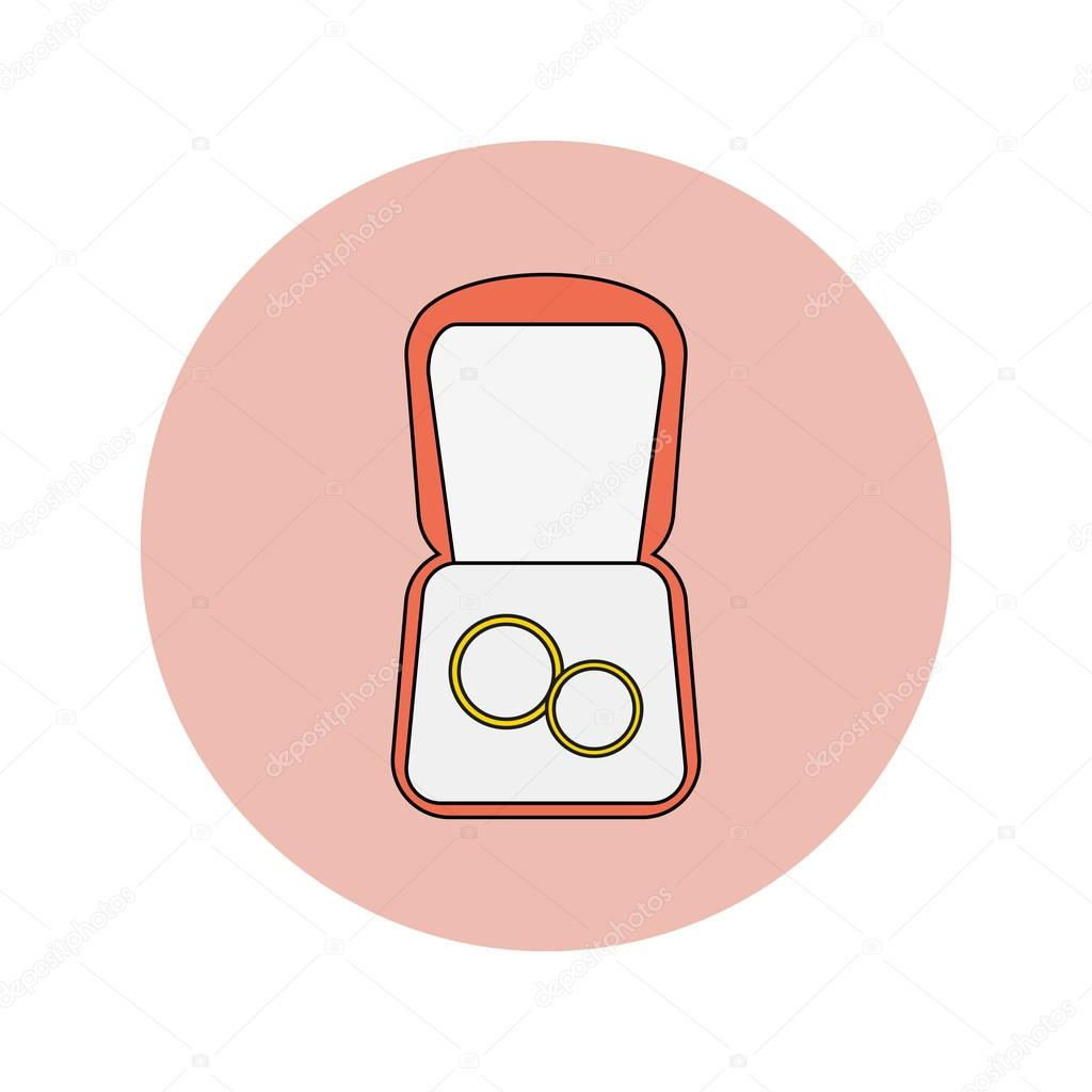 Wedding vector flat icon of wedding rings in a box — Stock Vector ...