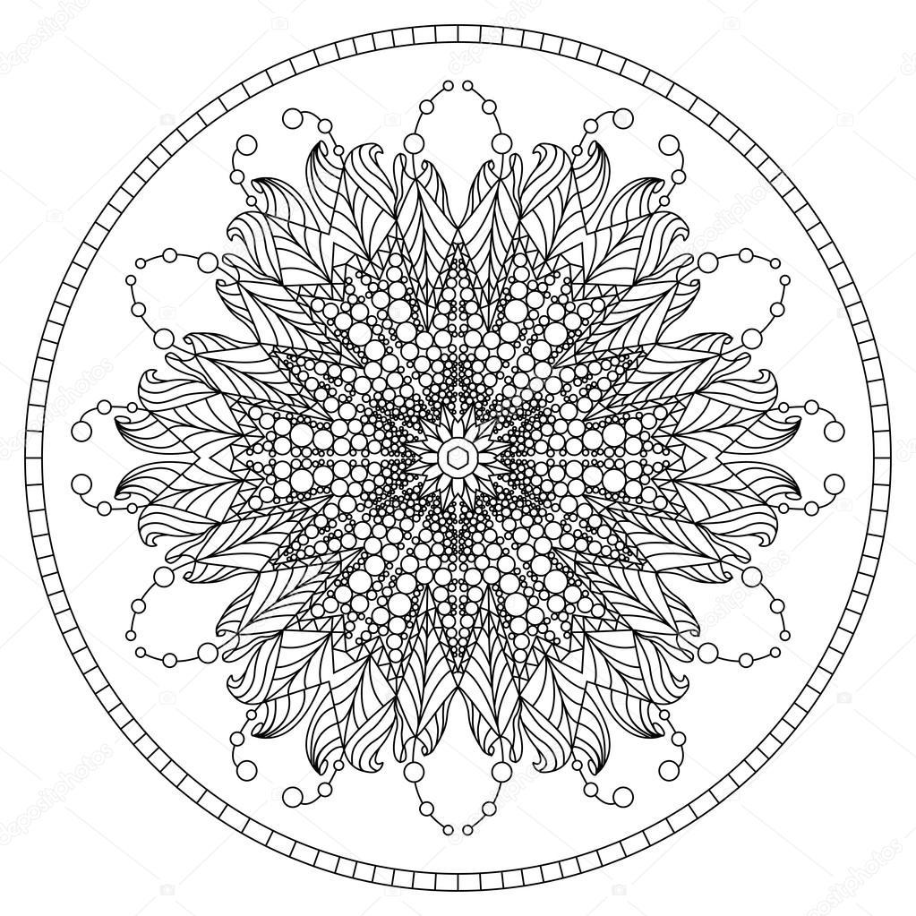 Mandala de libro para colorear. Mandala de contorno. Mandala de la ...