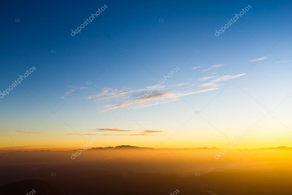 Beautiful sunrise in the mountains landscape.